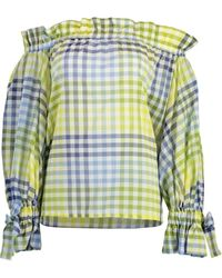 Sara Roka Iside Chequered Off Shoulder Top - Multicolour