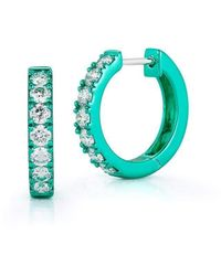 Katherine Jetter Diamond Mini Hoops With Mint Green Rhodium