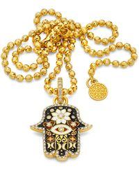 Buddha Mama Black Small Enamel Hamsa Pendant - Metallic