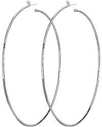 Mattia Cielo Rugiada Single Diamond Hoop Earrings - Metallic