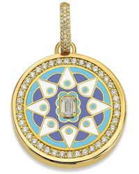 Buddha Mama Sky Blue Mandala Diamond Pendant - Multicolour