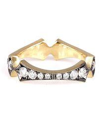 Sylva & Cie Diamond Corset Stacking Ring - Metallic