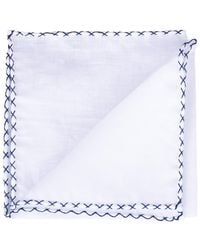 Eleventy Solid Pocket Square With Navy Whipstitch - White