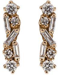 Suzanne Kalan Diamond Baguette Bar Stud Earrings - Multicolour