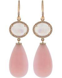 Irene Neuwirth Rainbow Moonstone And Pink Opal Drop Earrings