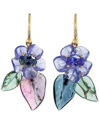 Irene Neuwirth Carved Tanzanite Flower Earrings - Blue