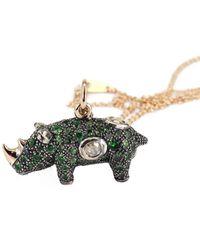 Bibi Van Der Velden Tsavorite And Diamond Rhino Necklace - Multicolour