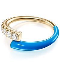 Melissa Kaye - Lola Blue Enamel And Diamond Ring - Lyst