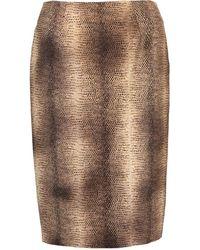 Giambattista Valli Snakeskin Print Skirt - Brown