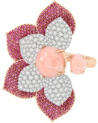 Sutra Pink Opal & Sapphire Flower Ring