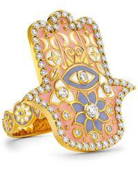 Buddha Mama Pink Enamel Hamsa Ring - Metallic