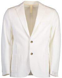 Eleventy Single Breasted Laser Cut Jacket - White