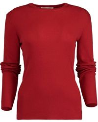Michael Kors Crimson Featherweight Cashmere Top - Red