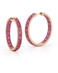 Katherine Jetter Hot Pink Sapphire Baguette Hoop Earrings