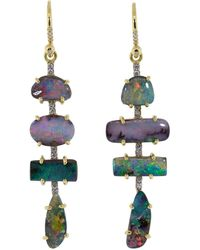 Irene Neuwirth Boulder Opal And Diamond Drop Earrings - Multicolour