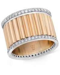 WALTERS FAITH Clive Two Tone Diamond Fluted Band Ring - Multicolour