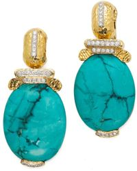 David Webb - Oval Turquoise And Diamond Earrings - Lyst