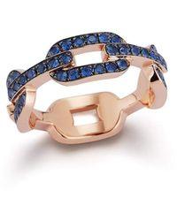 WALTERS FAITH Saxon Blue Sapphire Flat Chain Link Ring