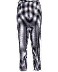 Michael Kors Gingham Cotton Side Zip Pant - Blue