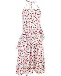 Michael Kors Cherry Print Ruched Peplum Halter Dress - Multicolour