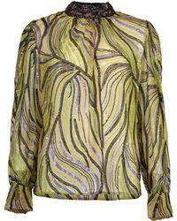 Dries Van Noten Coxe Embellished Long Sleeve High Neck Blouse - Green