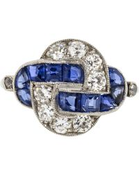 Fred Leighton - Art Deco Sapphire And Diamond Knot Ring - Lyst