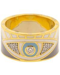 Buddha Mama Diamond And Enamel Evil Eye Ring - Multicolor