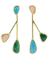 Pamela Love Pink Opal, Turquoise And Malachite Satellite Earrings - Blue