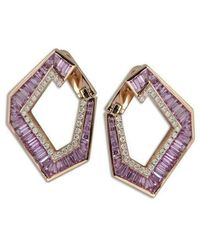 Kavant & Sharart Large Origami Link No.5 Pink Sapphire And Diamond Earrings