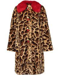 Dolce & Gabbana Leopard Faux Fur Coat - Multicolour
