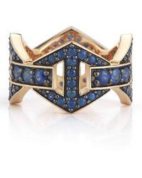 WALTERS FAITH Keynes Blue Sapphire Large Hexagon Ring