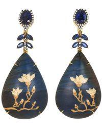 Silvia Furmanovich Marquetry Mangolia Sapphire Earrings - Blue