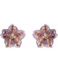 Bounkit Amethyst, Swiss Blue Topaz & Peridot Flower Earrings - Multicolor
