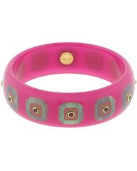 Mark Davis Pink And Blue Bakelite With Rhodonite Garnet Bangle