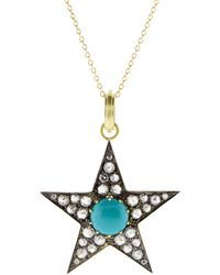 Sylva & Cie Large Turquoise Star Pendant - Multicolour