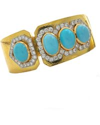 David Webb Oval Cabochon, Turquoise And Diamond Cuff - Blue