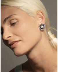 Fantasia by Deserio 9mm Pearl Centre Earrings - Metallic