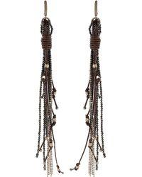 Brunello Cucinelli Monili Leather Dangle Earrings - Metallic