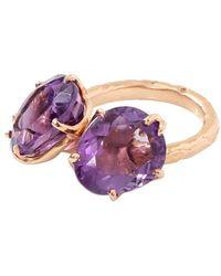 Federica Rettore Double Amethyst Campanellino Ring - Purple