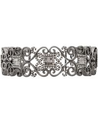 Bochic Diamond Scroll Cuff Bracelet - Multicolor