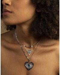 Lito Petit Bleu Enamel Eye And Diamond Necklace - Multicolour