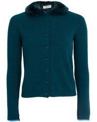 Blugirl Blumarine Cardigan With Fur Collar - Green