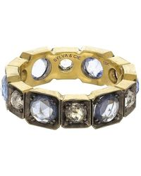 Sylva & Cie Blue Sapphire And Diamond Band Ring - Metallic