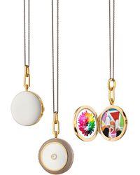 Monica Rich Kosann White And Gray Enamel Sapphire Round Locket Necklace