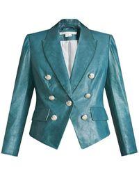 Veronica Beard Cooke Leather Dickey Jacket - Blue