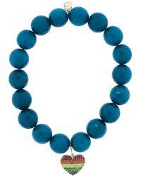 Sydney Evan Pave Rainbow Heart Charm Bracelet - Blue