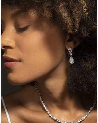 Fantasia by Deserio Teardrop Cluster Earrings - Metallic