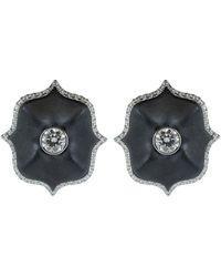 Bayco Black Ceramic Mini Lotus Earrings