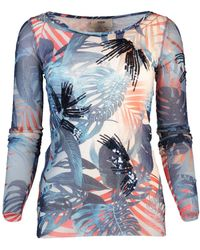 Fuzzi Palm Print Fitted Top - Blue
