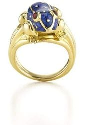 David Webb Baby Frog Blue Enamel Ring - Metallic